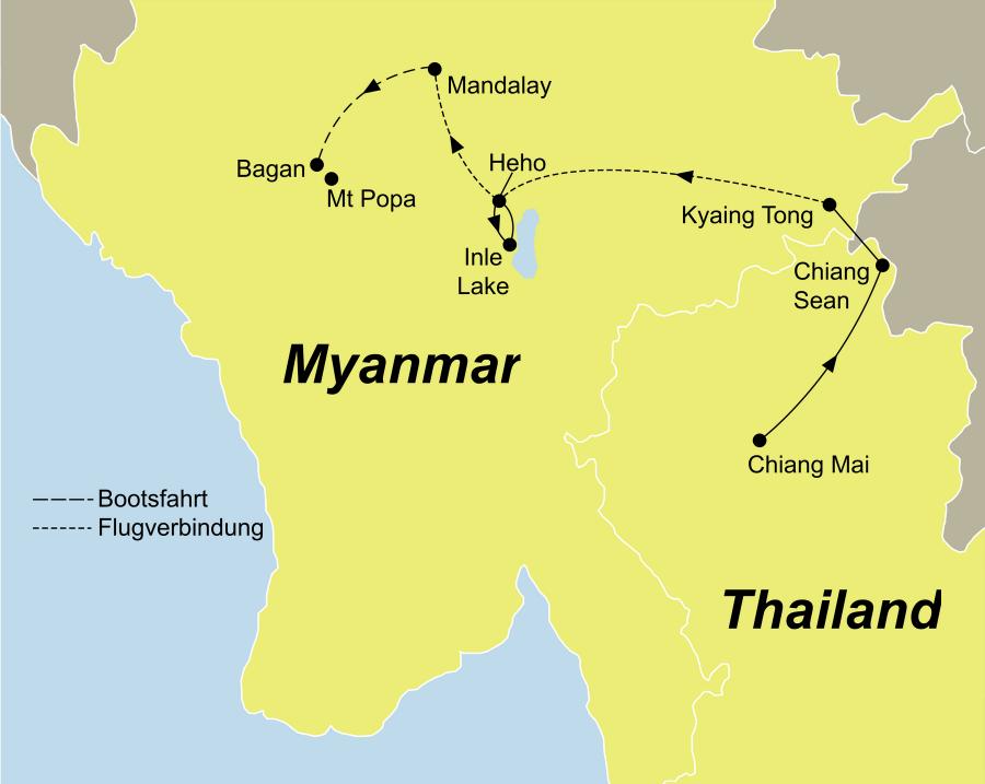 Die Grenzen überschreiten Rundreise führt von Chiang Mai über Pindaya und Mandalay nach Bagan