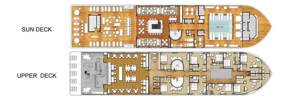 Auf dem Deckplan der The Strand Cruise ist die Verteilung der Kabinen sowie der verschiedenen Einrichtungen an Bord des Schiffes ersichtlich.