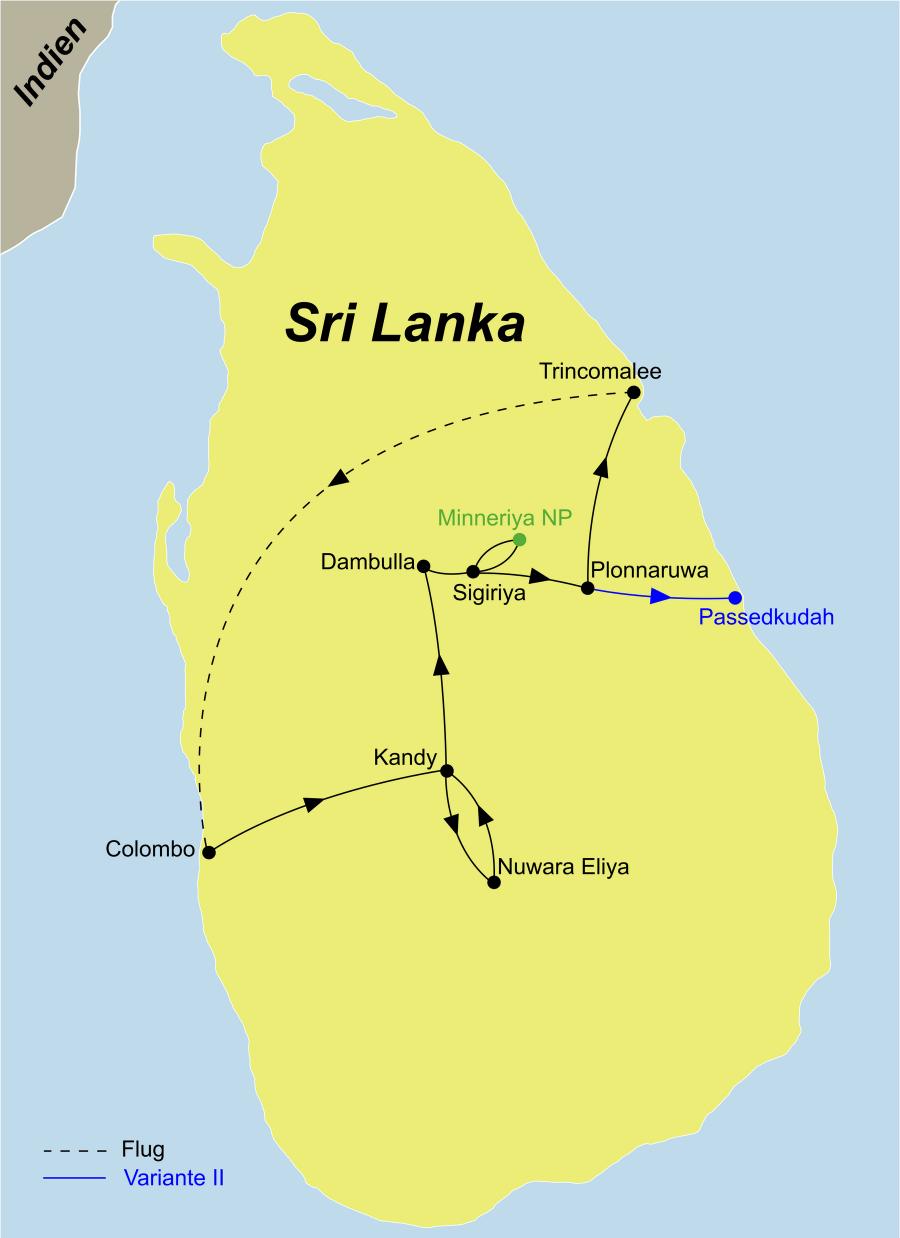 """Die """"Der Zauber Sri Lankas Ostküste"""" Rundreise führt von Colombo über Kandy und den Minneriya Nationalpark nach Trincomallee"""