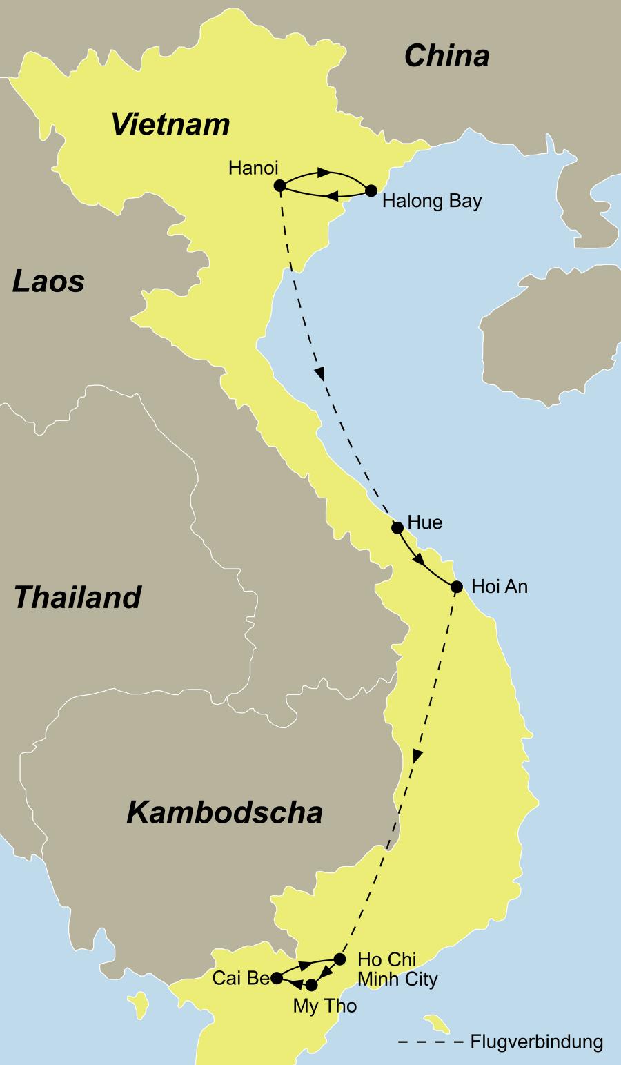Der Reiseverlauf zu unserer Vietnam Reise - Erlebe Vietnam startet in Hanoi und endet in Saigon.