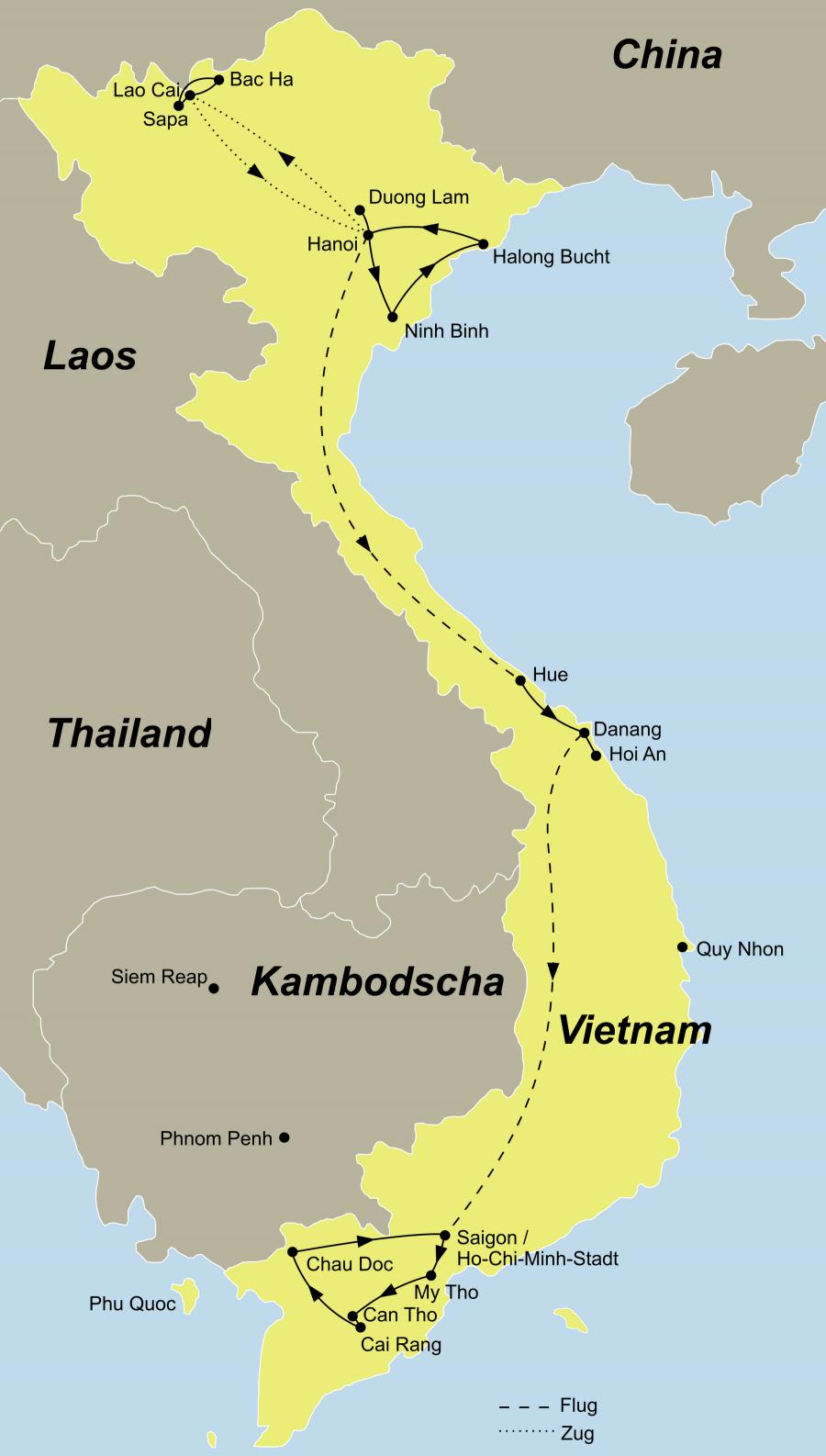 Die Vietnam Rundreise führt von Hanoi über Duong Lam – Hanoi – Lao Cai -- Lao Cai – Sapa -- Bac Ha – Lao Cai – Hanoi -- Ninh Binh – Halong Bucht -- Hanoi – Hue -- Danang – Hoi An -- Danang – Saigon -- Can Tho -- Cai Rang – Chau Doc zurück nach Saigon.