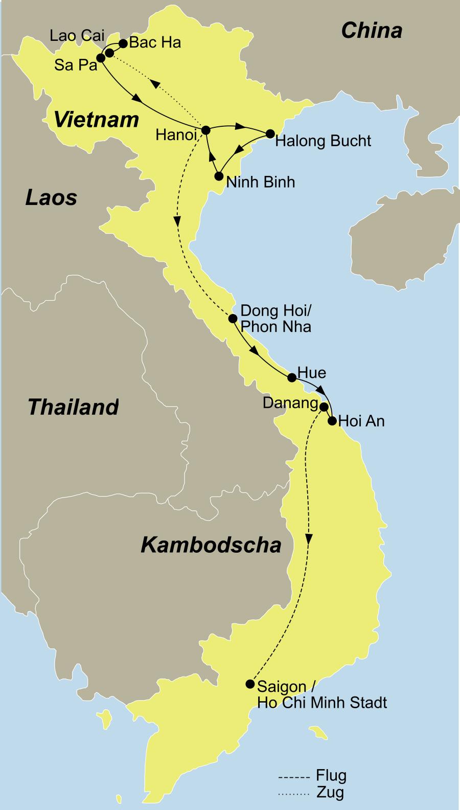 Reiseroute Vietnam Intensiv