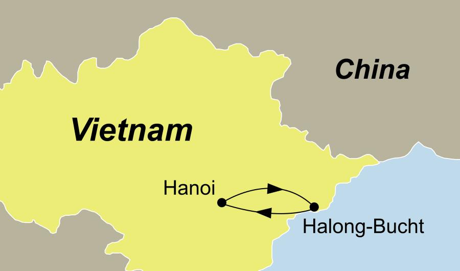 Die Vietnam Rundreise Halong Bucht – Luxus Kreuzfahrt führt von Hanoi durch die Halong Bucht zurück nach Hanoi.