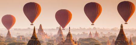 Ballonfahrten über das Tempelfeld der historischen Königsstadt sind eine beliebte Aktivität in Bagan.