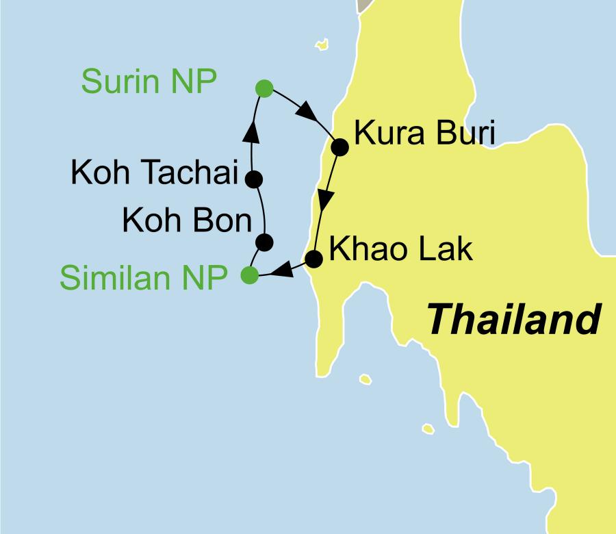 Die Thailand Rundreise führt von Khaolak über den Similan Nationalpark, Koh Bon, Koh Tachai, den Surin Nationalpark und Kura Buri wieder zurück nach Khaolak.