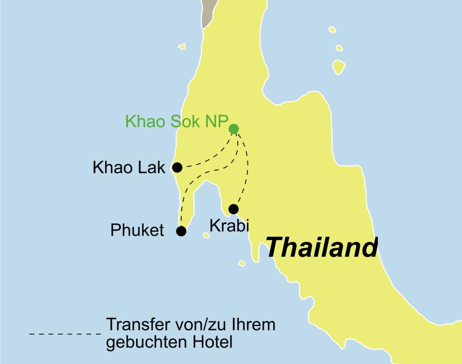 Die Thailand Rundreise führt von Phuket, Krabi oder Khaolak über den Khao Sok Nationalpark zurück zum Ausgangspunkt.