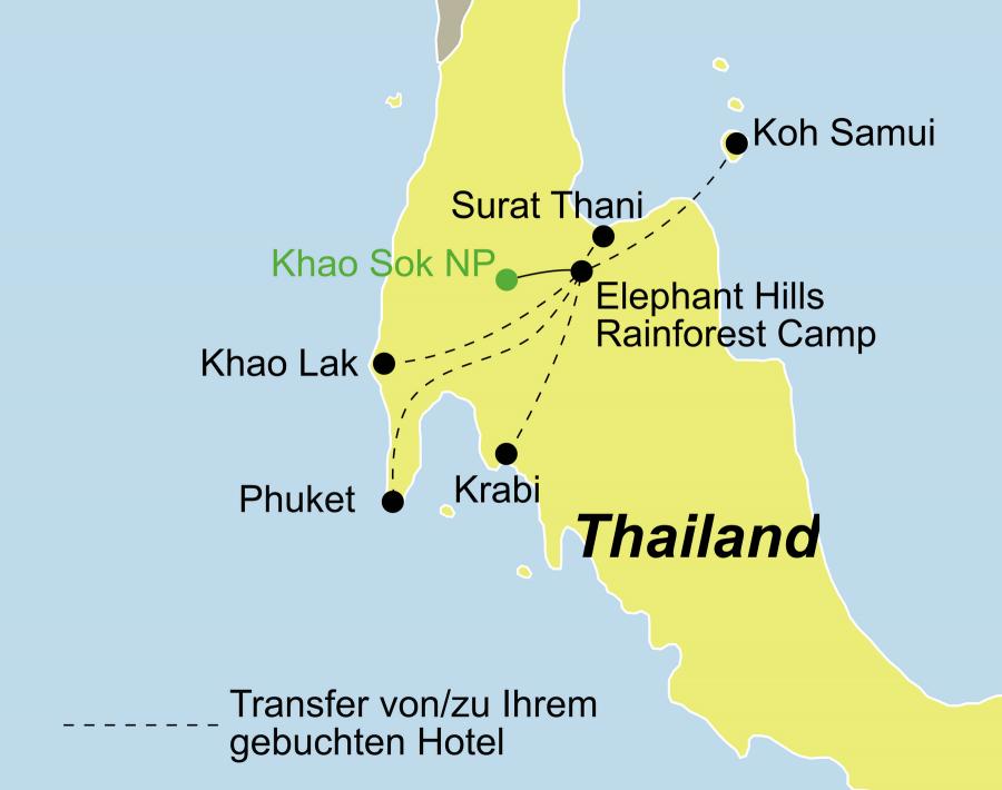Die Thailand Rundreise führt von Phuket, Khaolak, Surat Thani, Koh Samui oder Krabi über den Khao Sok Nationalpark zurück zum Ausgangspunkt.