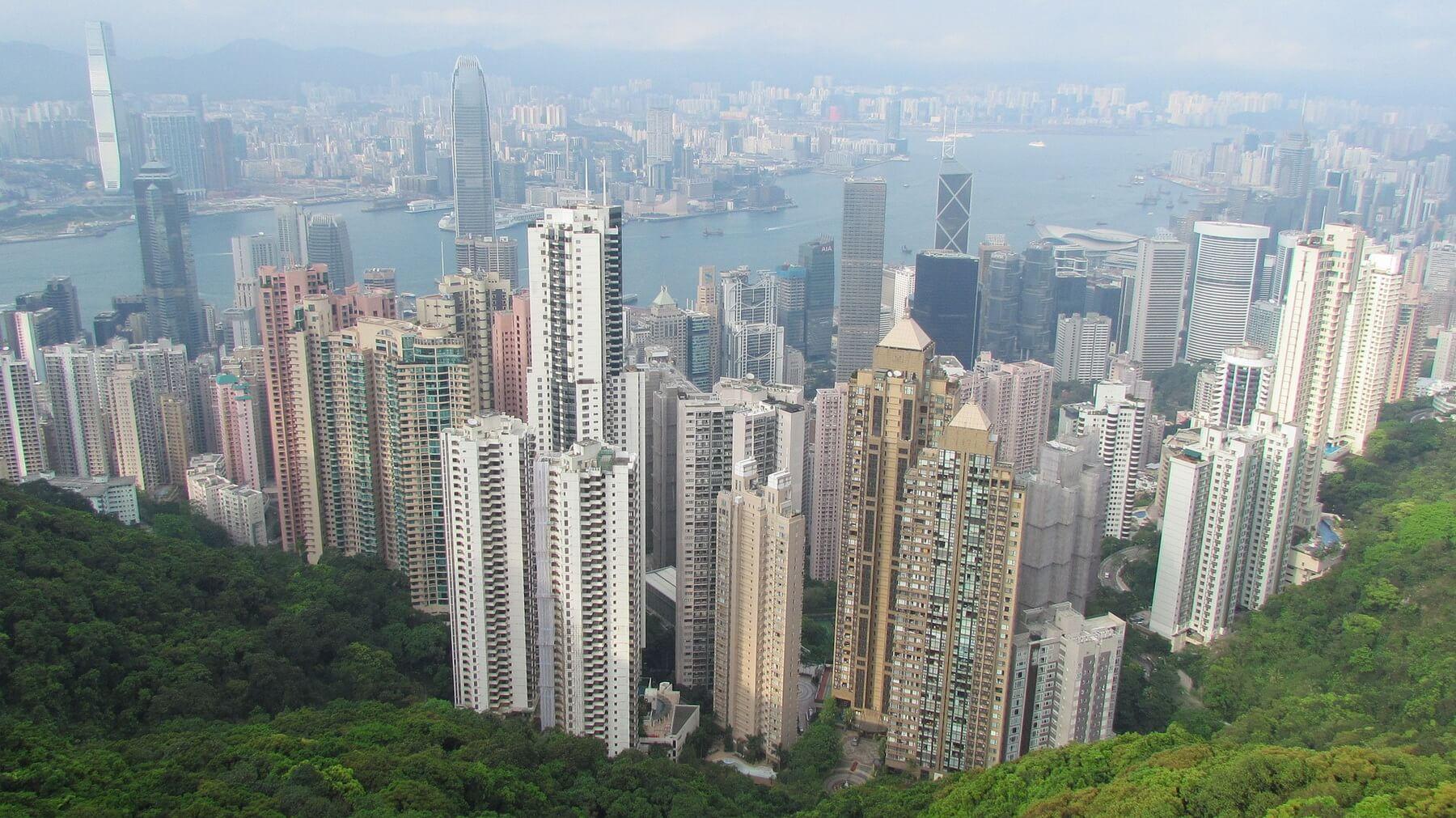 Die Skyline von Hongkong streng nach Feng Shui ausgerichtet