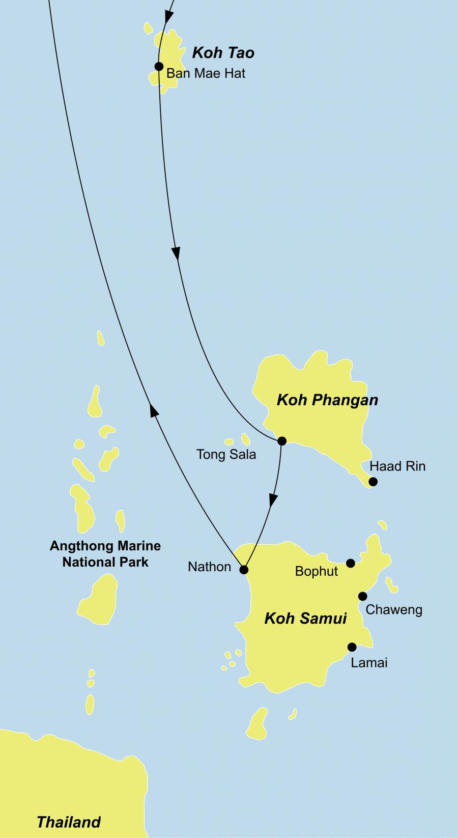 Der Reiseverlauf zu unerer Thailand Reise führt von Bangkok über Koh Tao – Koh Phangan nach Koh Samui