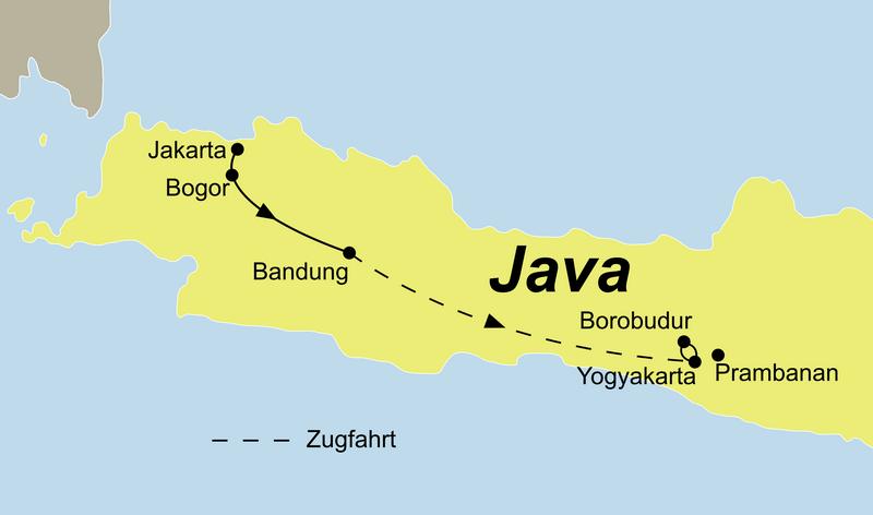 Reiseroute Java zum Kennenlernen führt Sie von Jakarta über Bandung, Borobudur und Yogyakarta
