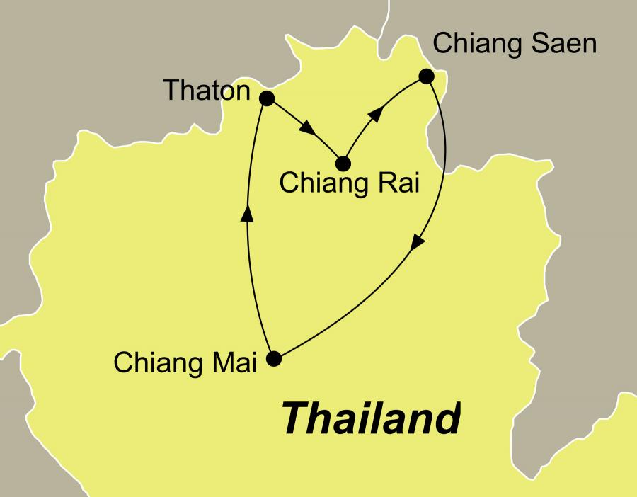 Die Thailand Norden Rundreisen führen von Chiang Mai über Thaton, Chiang Rai das Goldene Dreieck und Chiang Saen zurück nach Chiang Mai.
