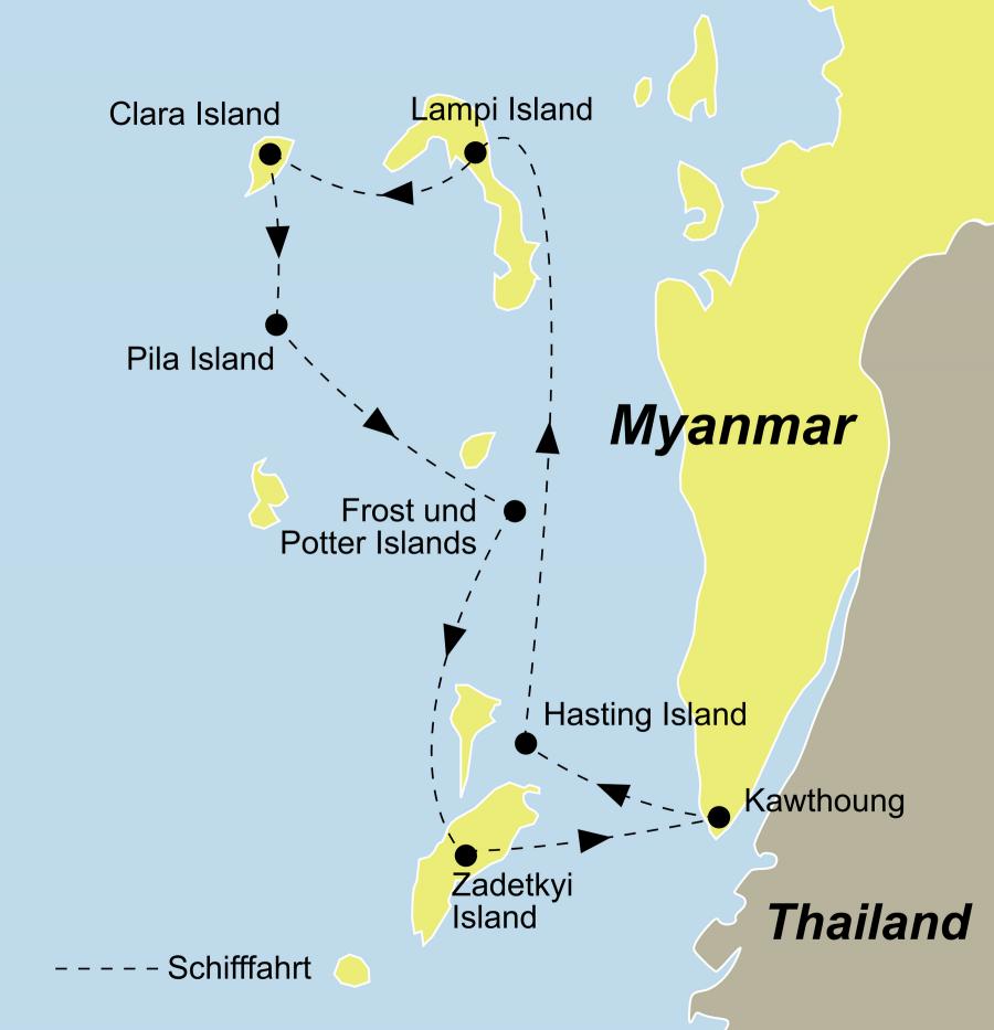 Der Myanmar Segeltörn führ von Kawthaung über Lampi Island nach Pila Island und wieder nach Kawthaung
