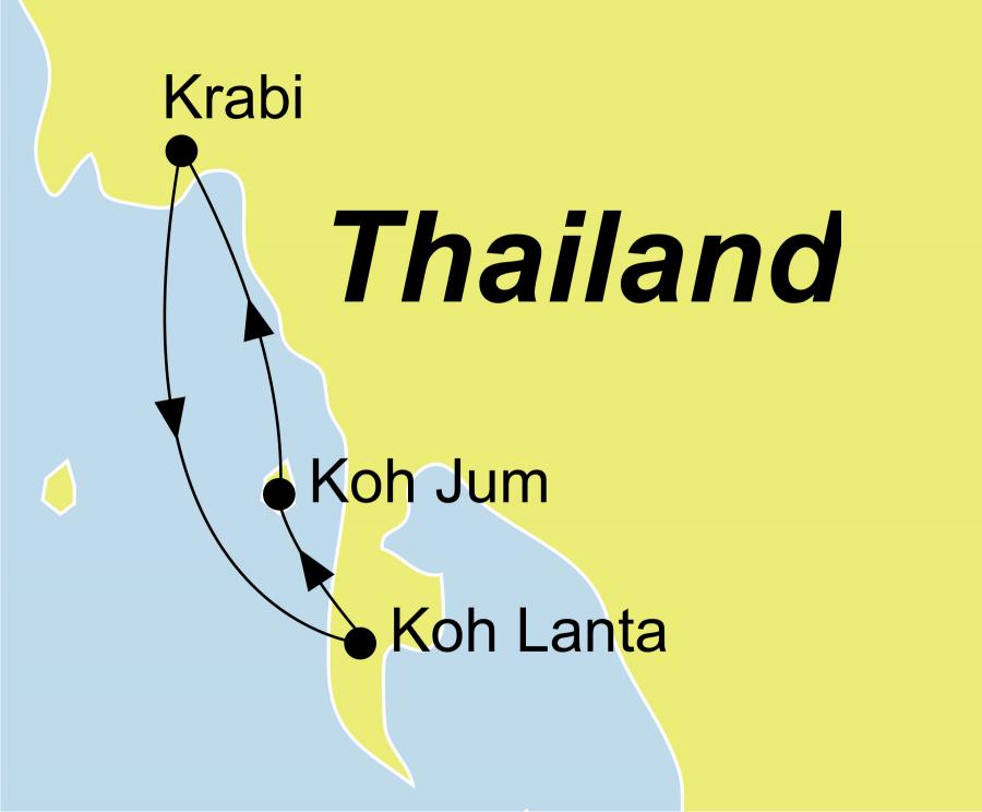 Die Thailand Rundreise führt von Krabi über Koh Lanta und Koh Jum wieder zürck nach Krabi.