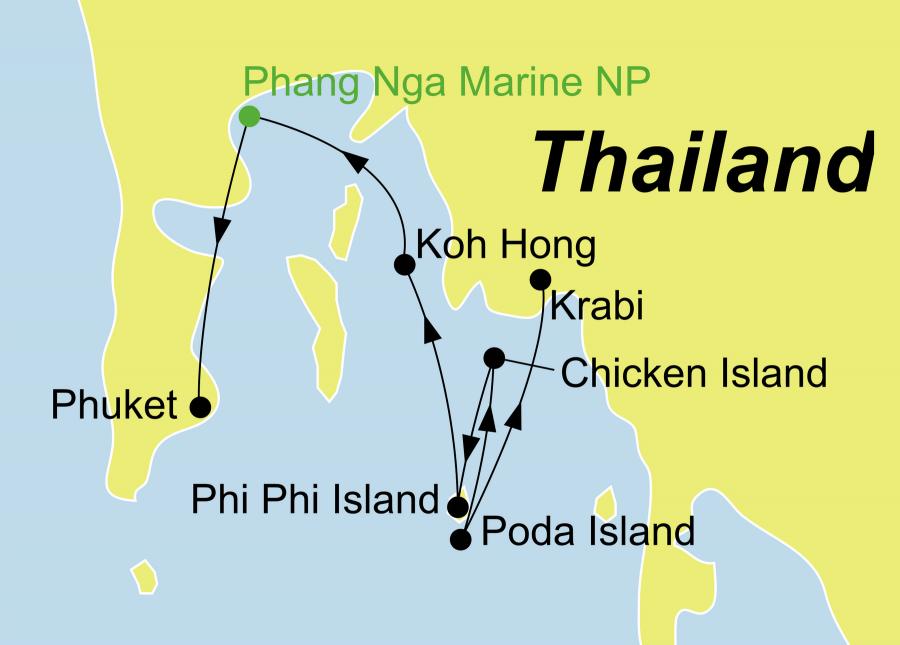 Der Reiseverlauf zu unserer Thailand Reise Dschunken-Kreuzfahrt mit der Dauw Talae startet und endet je nach Reiserichtung in Krabi oder Phuket.