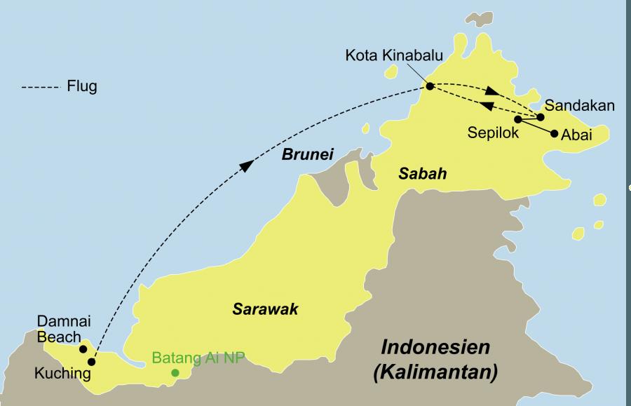 Die Rundreise im Land der Orang-Utans führt von Kuching nach Kota Kinabalu und Sandakan