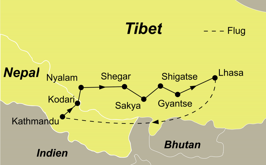 Die Tibet Rundreise führt von Kathmandu über Kodari – Nyalam – Shegar – Sakya – Shigatse – Gyantse – Lhasa zurück nach Kathmandu.