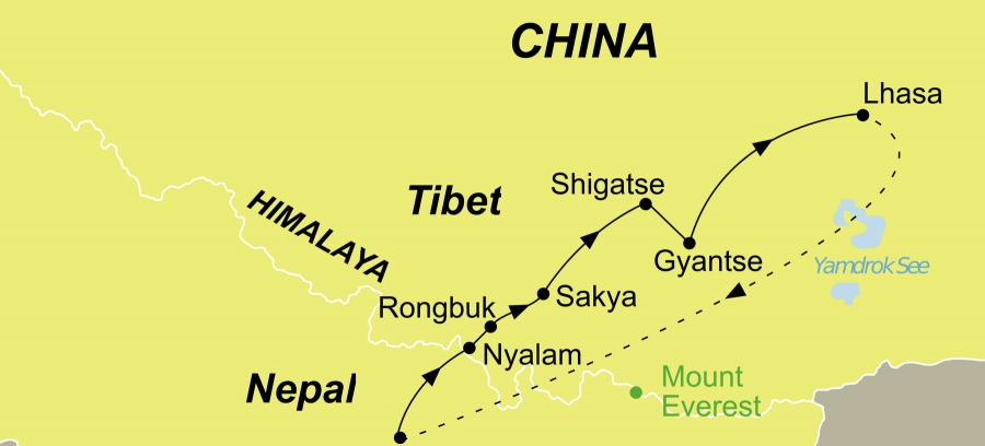 Die Tibet Rundreise führt von Kathmandu überNyalam – Shegar – Mt. Everest – Sakya – Shigatse – Gyantse – Lhasa zurück nach Kathmandu.