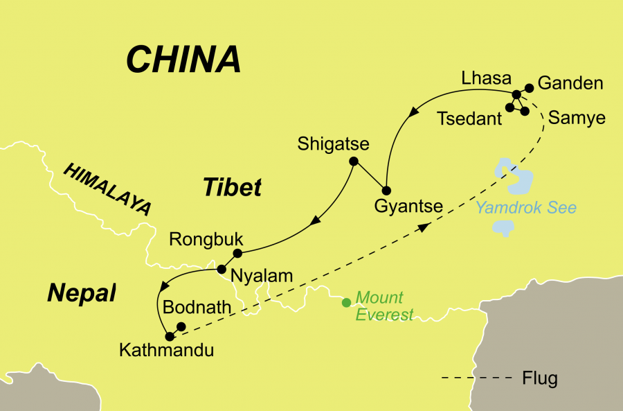 Die Klostertour Nepal und Tibet Rundreise führt von Kathmandu über Lhasa zurück nach Kathmandu