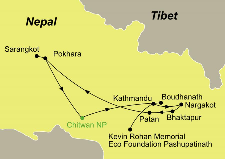 Die malerisches Nepal Rundreise führt von Kathmandu über Bhaktapur nach Pokhara und Chitwan Nationalpark.