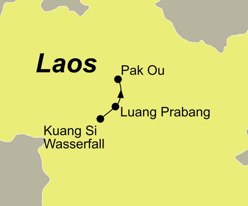 Die Reiseroute Luang Prabang neu entdecken führt Sie von Pak Ou über Luang Prabang zu dem Kuang Si Wasserfall