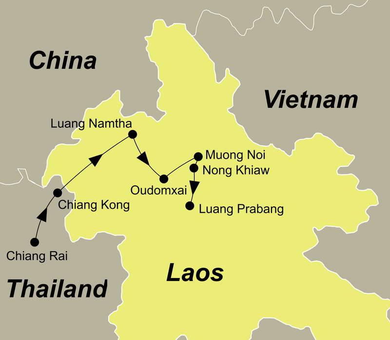 Die Reiseroute Thailand und Laos Trekking führt Sie von Chiang Rai über Chiang Kong, Luang Namtha nach Luang Prabang