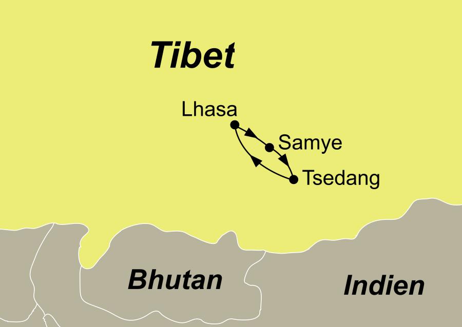 Die Tibet Rundreise führt von Lhasa über Samye – Tsedang zurück nach Lhasa.