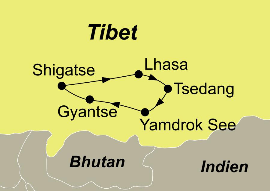 Die Tibet Rundreise führt von Lhasa über Tsedang – Yamdrok See – Gyantse – Shigatse zurück nach Lhasa.