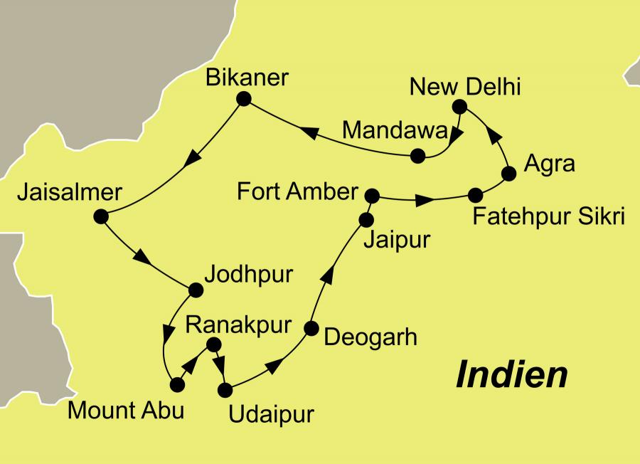 Der Reiseverlauf zu unserer Indien Reise Märchenhaftes Rajasthan startet und endet in Delhi.