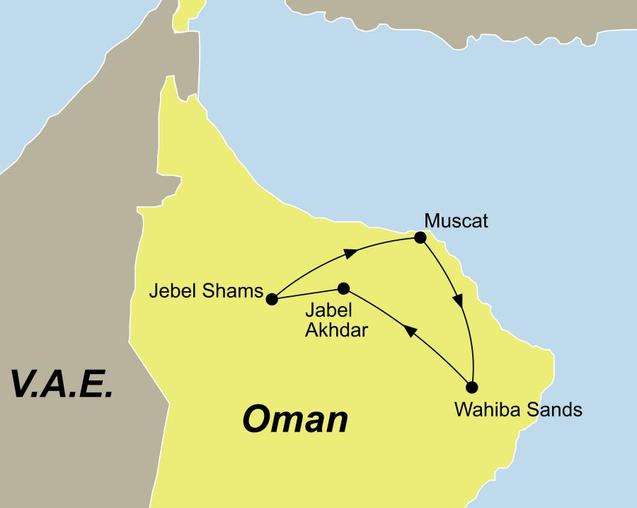 Der Reiseverlauf zu unserer Oman Reise Offroad Abenteuer startet in Muscat und endet in Muscat