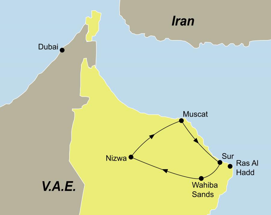 Die Oman Rundreise führt von Muscat über Nizwa nach Muscat