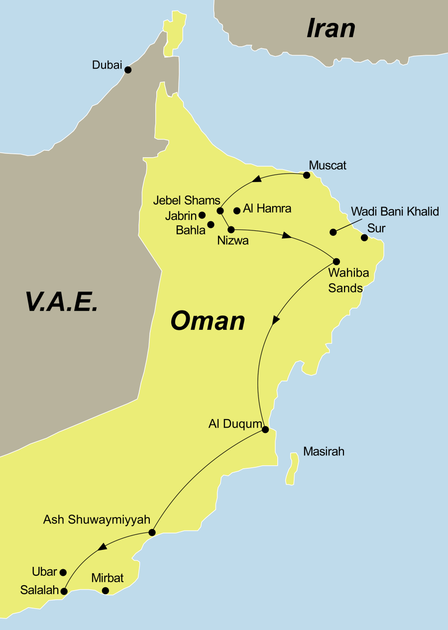 Die Oman Wüste, Weihrauch und Wadis Rundreise führt von Muscat über Nizwa nach Salalah
