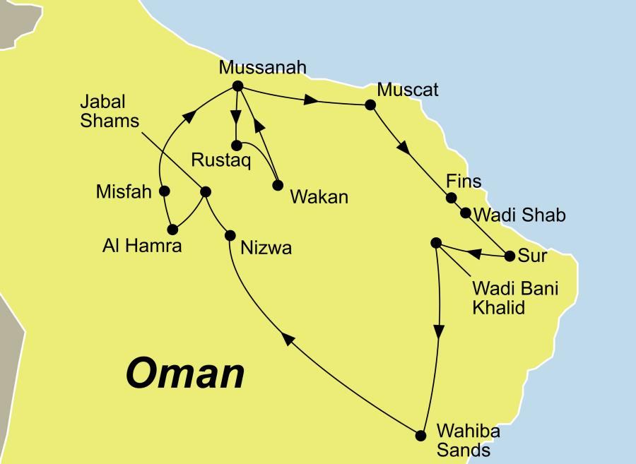 Die Oman Rundreise führt von Muscat über Al Hamra nach Muscat