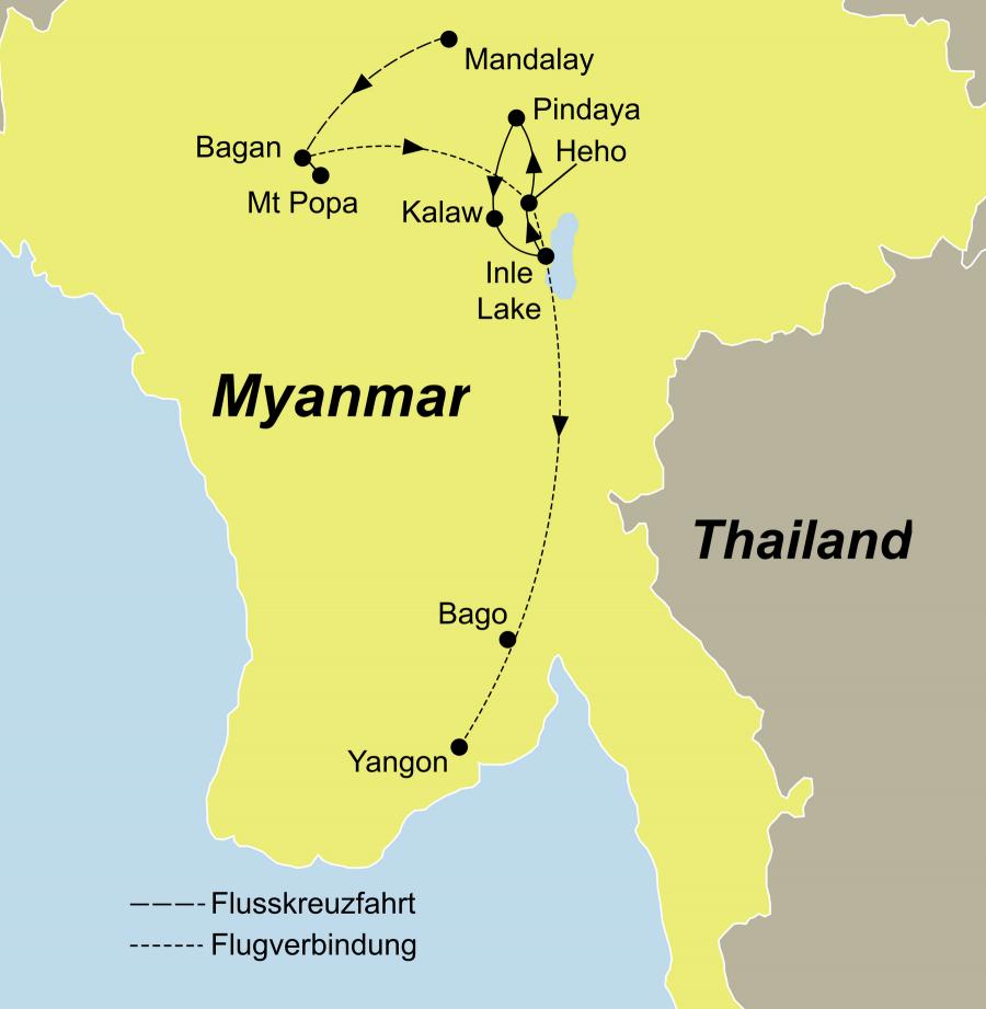 Individualreise Myanmar führt von Mandalay nach Irrawaddy Flusskreuzfahrt zum Inle See nach Yangon