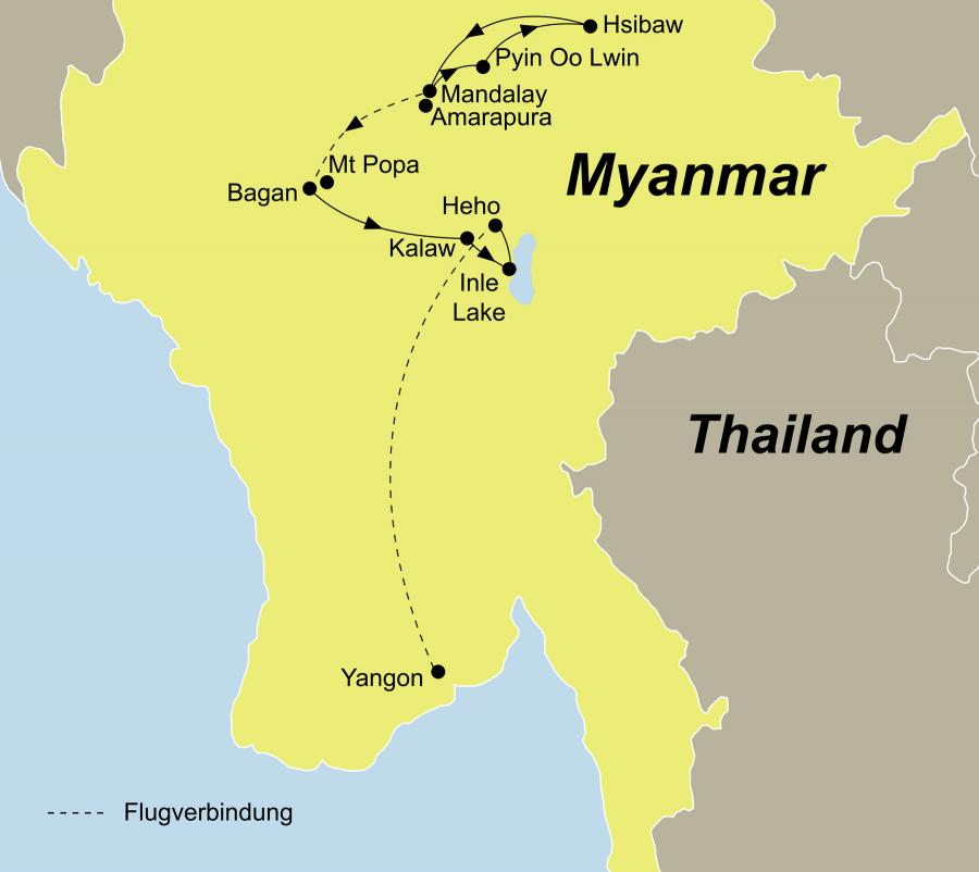 Die Kultur & Wandern Myanmar Rundreise führt von Mandalay über Bagan nach Yangon