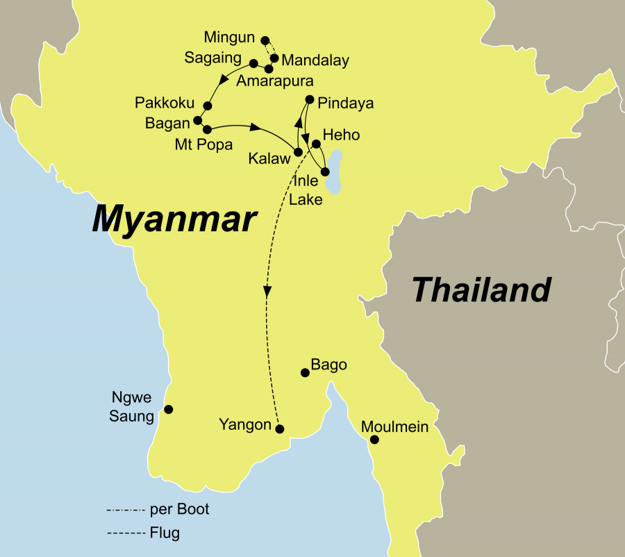 Die Best of Myanmar Rundreise führt von Mandalay über Bagan und Pindaya nach Yangon