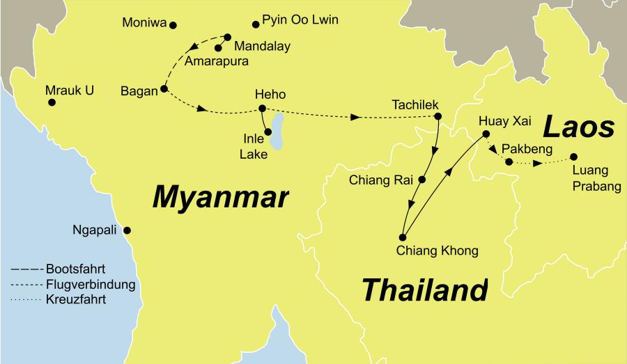 Die Myanmar Thailand und Laos Entdeckerreise führt von Mandalay über Bagan über Chiang Rai nach Prabang