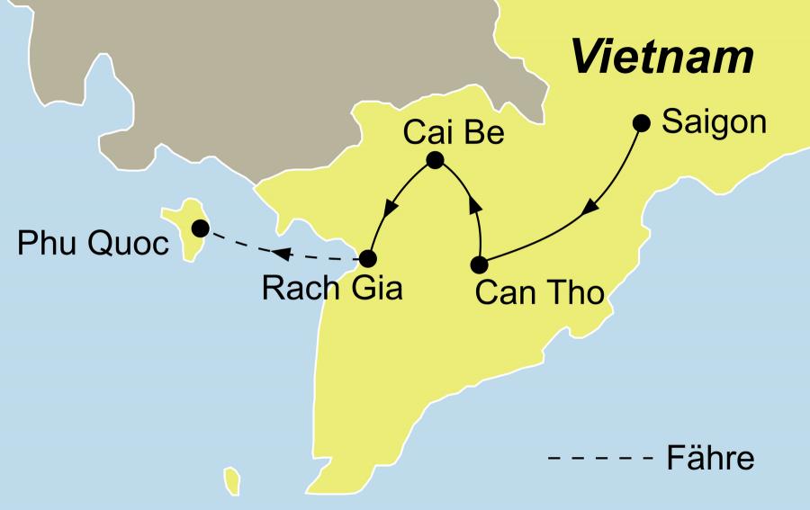 Die Flusskreuzfahrt im Mekong Delta Rundreise führt von Saigon bis zur Trauminsel Phu Quoc.