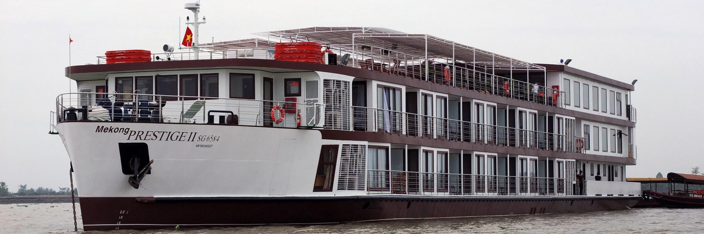 Auf der Mekong Prestige können eine herrliche Flusskreuzfahrt zwischen Vietnam und Kambodscha in luxuriösen Ambiente genießen.