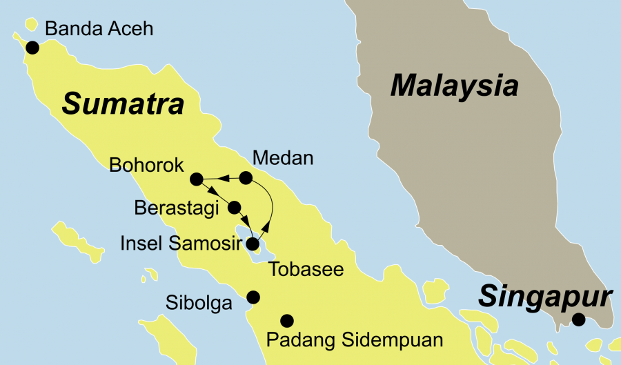 Die Faszination Tobasee Orang Utan Camp Rundreise führt von Bohorok über den Tobasee nach Medan