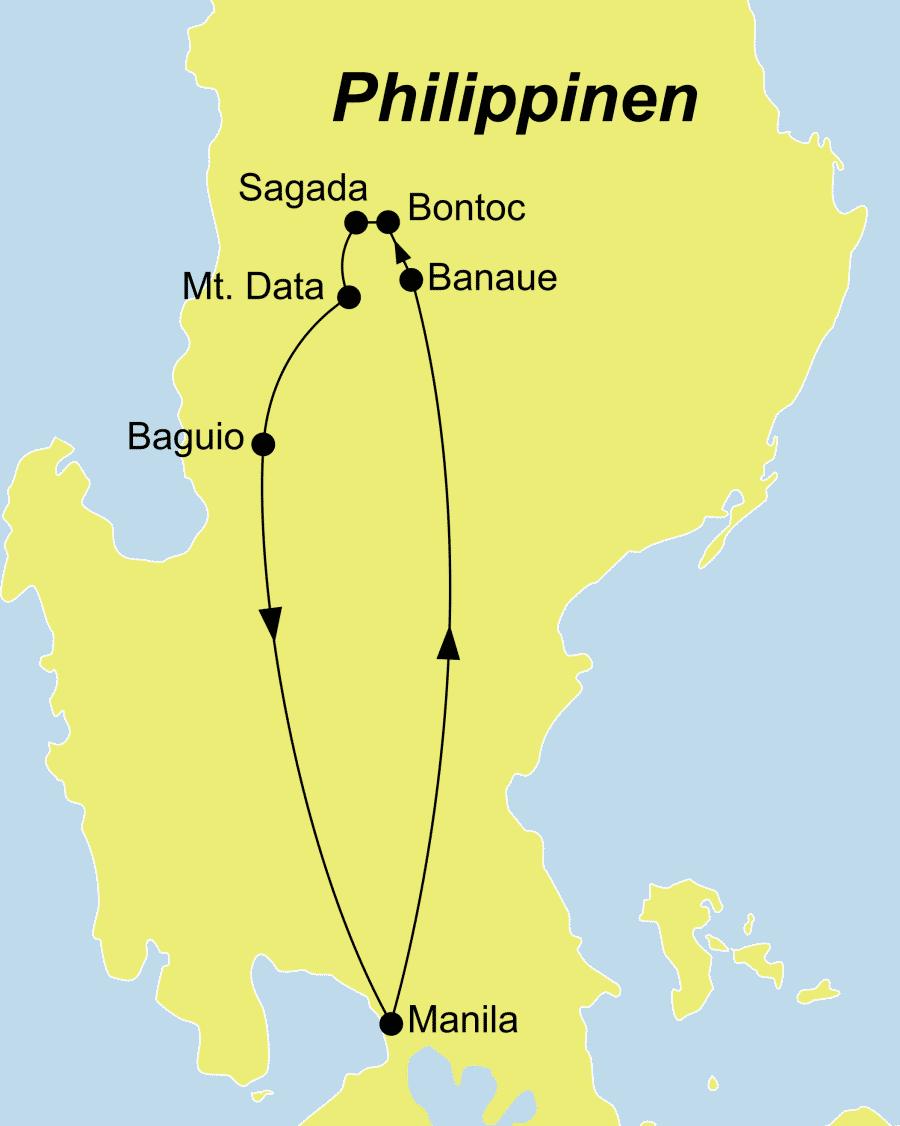 Die Philippinen Rundreise führt von Manila über Sagada nach Manila