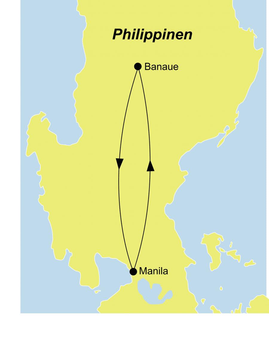 Die Rundreise führt von Manila über Banaue nach Manila