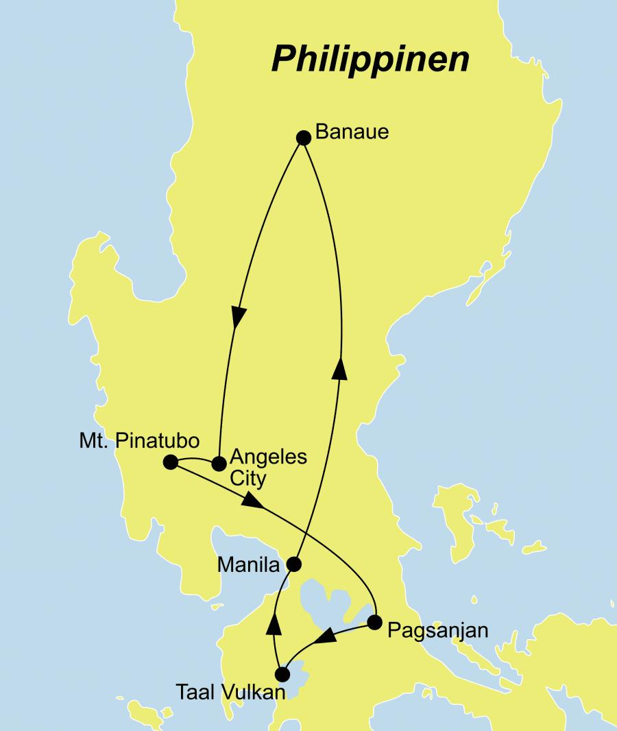 Die Philippinen Rundreise führt von Manila über Pinatubo nach Manila