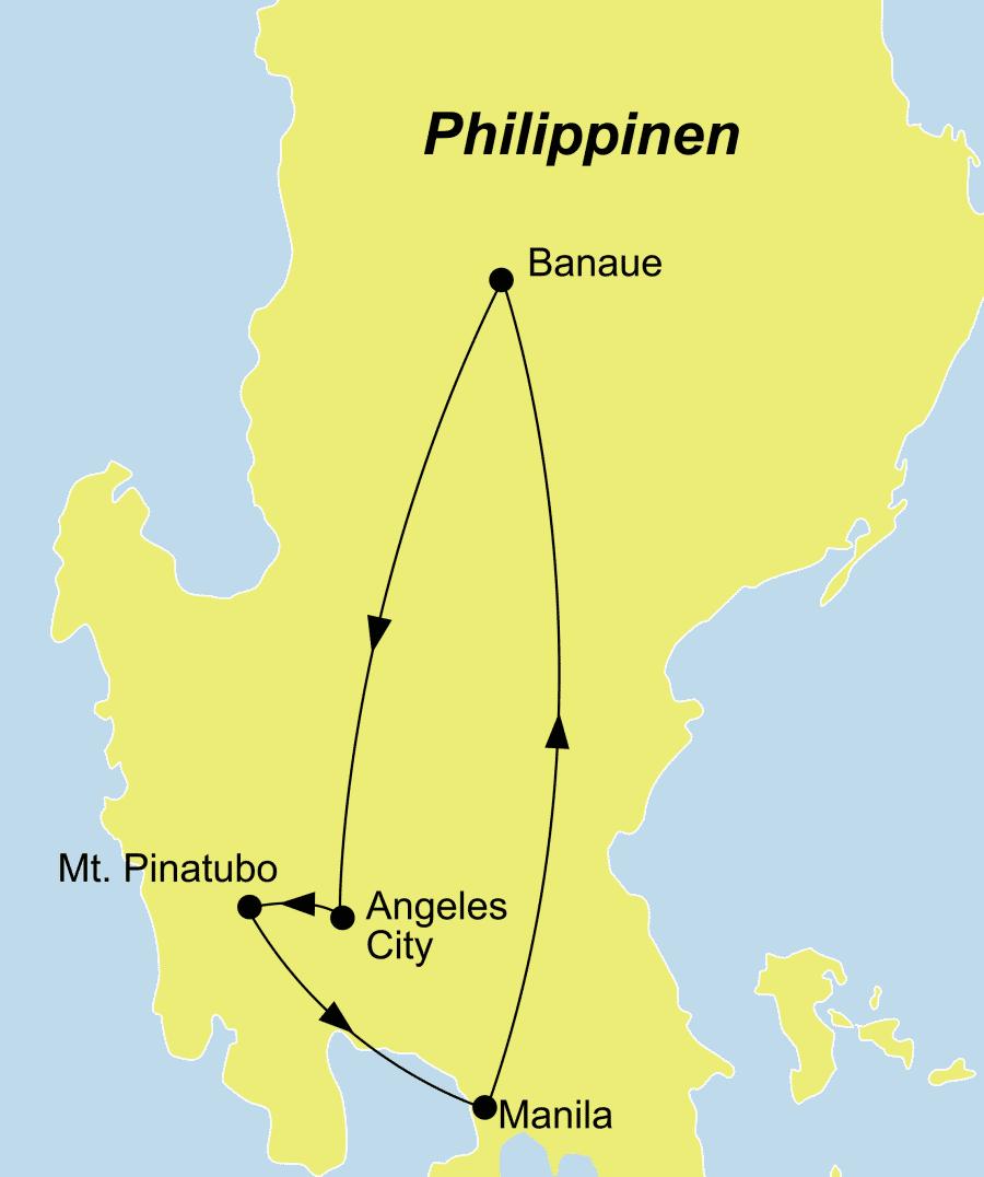 Die Rundreise führt von Manila über Mt. Pinatubo nach Manila