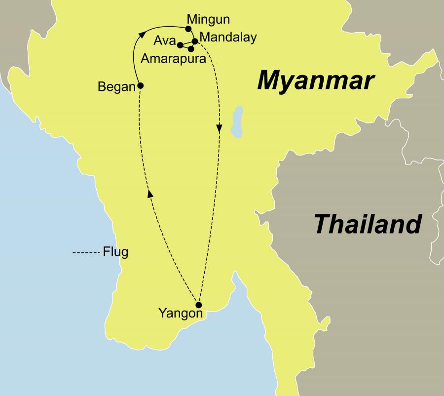 Die Luxus Flusskreuzfahrt Myanmar führt von Rangun über Mandalay nach Amarapura zurück nach Rangun