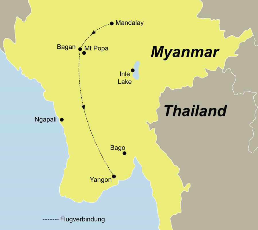 Die Myanmar zum Kennenlernen Rundreise führt von Mandalay über Bagan nach Yangon