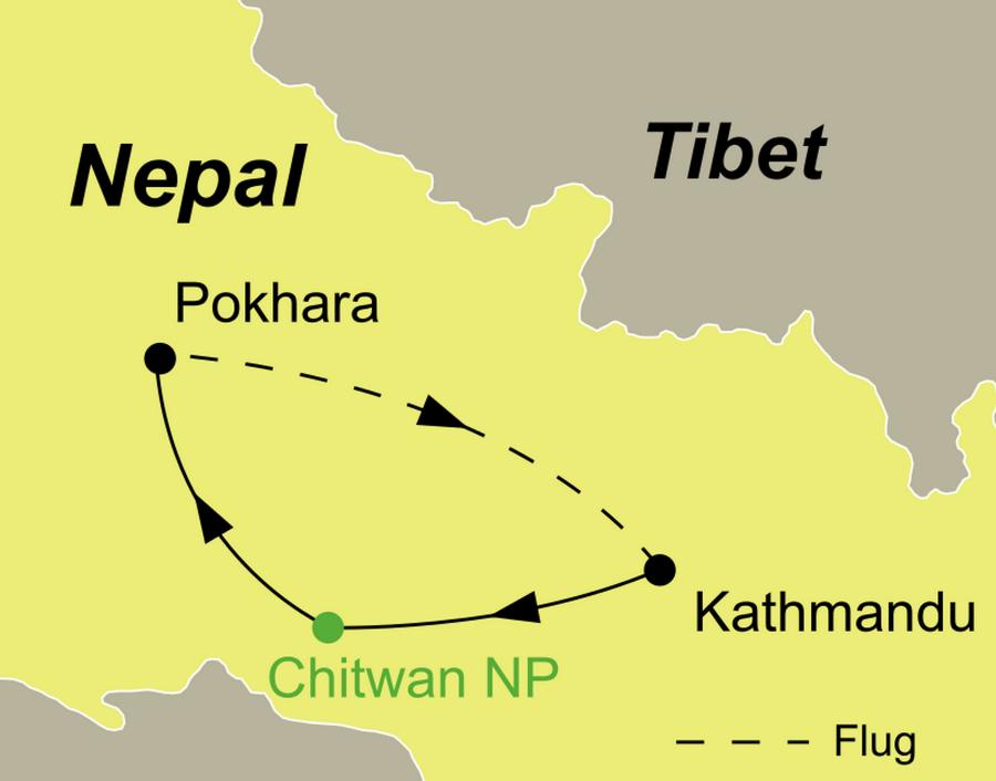 Nepal Rundreise Kultur und Wildlife Reiseroute Kathamdu - Chitwan- Pokhara