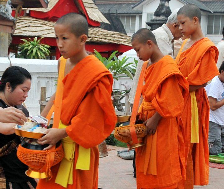 Novizen und Mönche beim Tak Bat in Luang Prabang