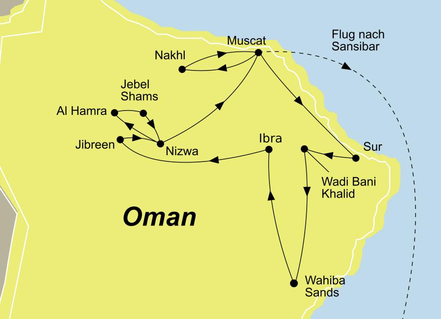 Der Reiseverlauf zu unserer Oman/Sansibar Reise Baden startet in Muscat und endet in Inselperle Sansibar