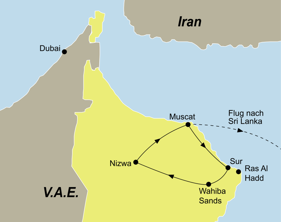 Der Reiseverlauf zu unserer Oman/Sri Lanka Reise startet in Muscat und endet in Colombo