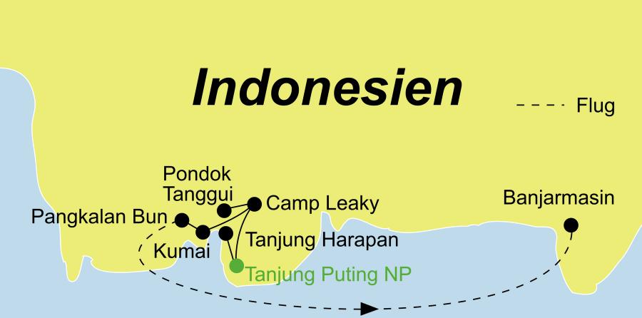 Die Kalimantan Rundreise führt von Pangkalan Bun über Kumai, den Tanjung Puting Nationalpark und Pangkalan Bun nach Banjarmasin.
